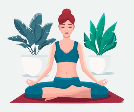 Woman sitting in lotus position practicing meditation. Yoga girl vector flat illustration.
