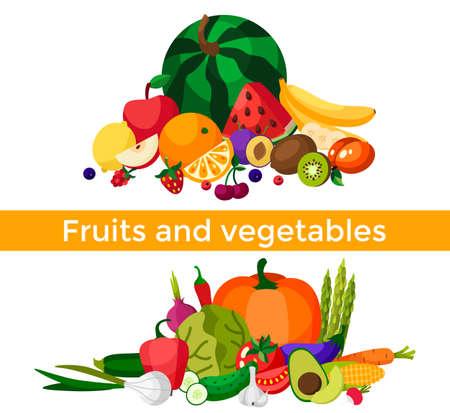 Set of fresh healthy vegetables, fruits and berries isolated. Slices of fruits and vegetables. Flat design. Organic farm illustration. Healthy lifestyle vector design elements. 版權商用圖片 - 166307197