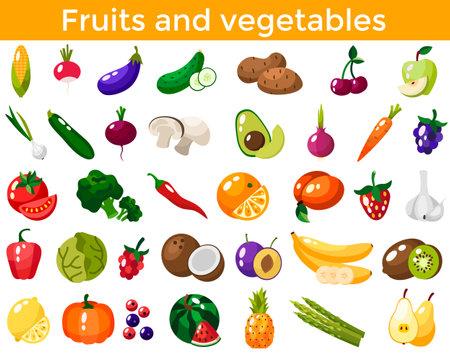 Set of fresh healthy vegetables, fruits and berries isolated. Slices of fruits and vegetables. Flat design. Organic farm illustration. Healthy lifestyle vector design elements. Vector Illustration