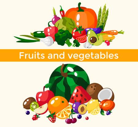 Set of fresh healthy vegetables, fruits and berries isolated. Slices of fruits and vegetables. Flat design. Organic farm illustration. Healthy lifestyle vector design elements. 版權商用圖片 - 166216324