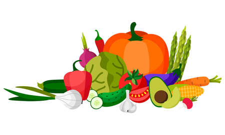 Set of fresh vegetables.Flat design. Organic farm illustration. Healthy lifestyle vector design elements. 版權商用圖片 - 166216329