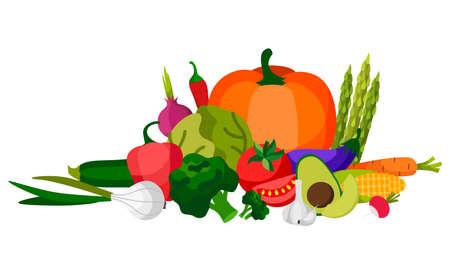 Set of fresh vegetables.Flat design. Organic farm illustration. Healthy lifestyle vector design elements.