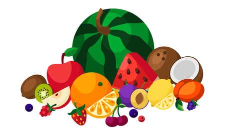 Set of fresh fruits and berries.Flat design. Organic farm illustration. Healthy lifestyle vector design elements. Illusztráció