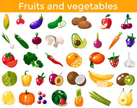 Set of fresh healthy vegetables, fruits and berries isolated. Slices of fruits and vegetables. Flat design. Organic farm illustration. Healthy lifestyle vector design elements.