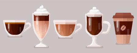 Coffee icons set vector illustration.