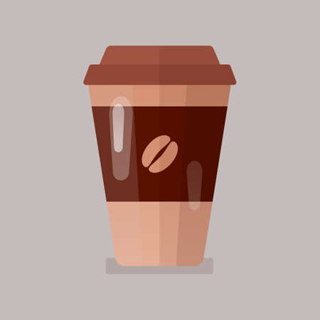 Coffee in paper cup icon vector illustration.