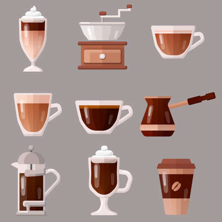 Coffee icons set vector illustration. Espresso, capuccino, french press. Illusztráció
