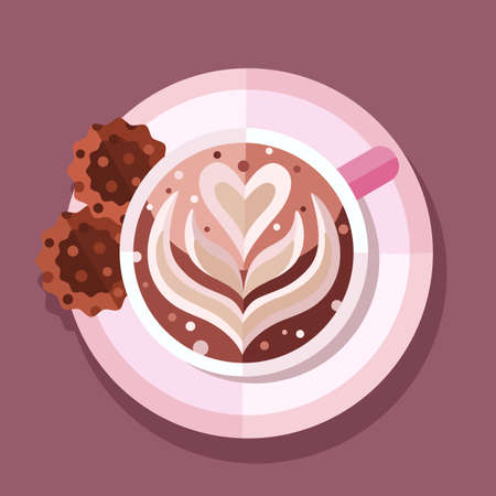 Cup of coffee cappuccino vector illustration.