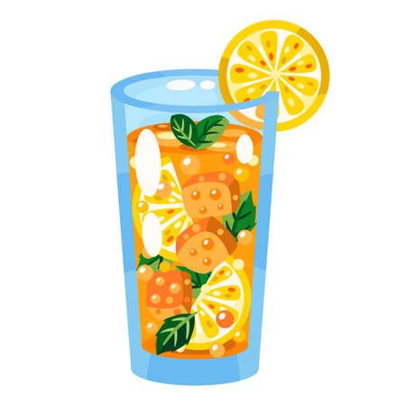 Glass of lemonade vector flat illustration.