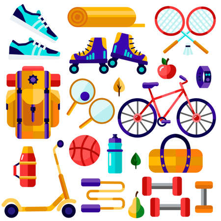 Tourism, sports, fitness inventory. Healthy lifestyle vector illustration.