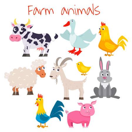 Set of cute cartoon farm animals. Vector flat illustrations.