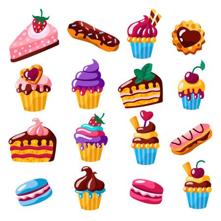 Set of cakes, cupcakes, eclairs vector flat illustration. Illusztráció