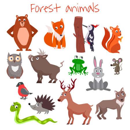 Set of cute cartoon forest animals. Vector flat illustration