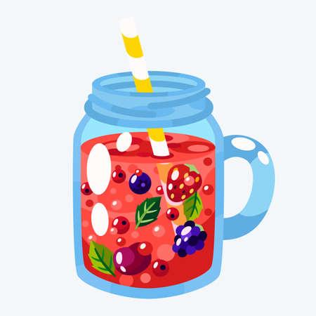 Lemonade, smoothie in a jar vector illustration.
