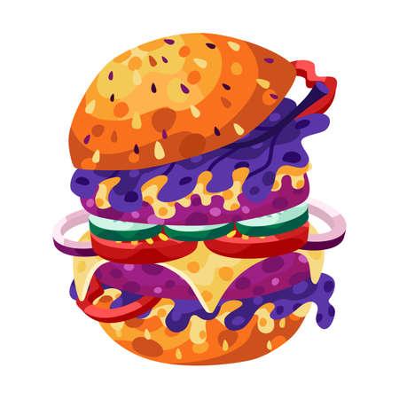 Burger vector illustration. Fast food Illusztráció