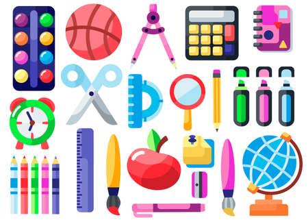 Cute school icons vector flat illustration.