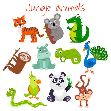 Set of cartoon cute jungle animals. Vector flat illustration. Illusztráció