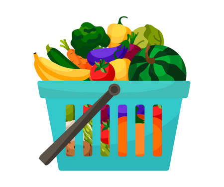 Shopping basket with vegetables and fruits. Illusztráció