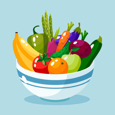 Bowl full of vegetables and fruits vector illustration.