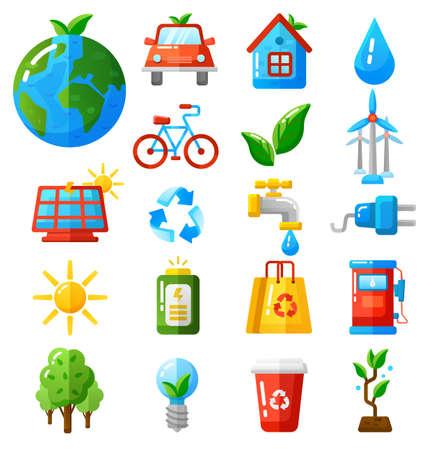 Ecology icons set vector illustration.