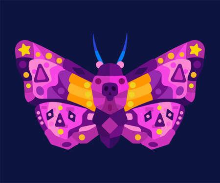 Decorated moth flat vector illustration.