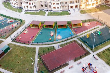 Aerial view children playground and sport activities residential area people community spring time