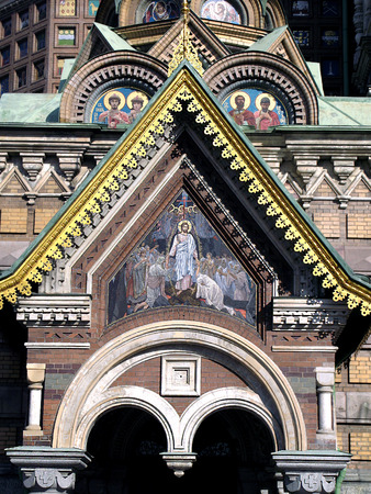 pediment: Tympanum of the pediment of the southern porch. Church of the Savior on Spilled Blood in St. Petersburg. Descent into Hell. Mosaic after the original Vasnetsov