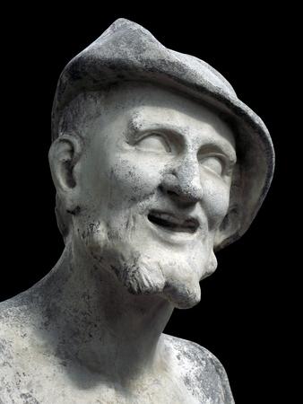 ancient philosophy: Democritus sculpture on a black background. Marble bust of ancient Greek philosopher in the Summer Garden in Saint Petersburg Stock Photo