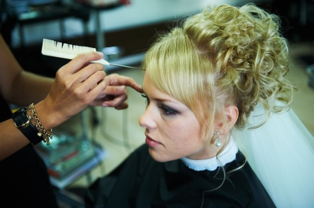 Bride for the wedding in the barbershop photo