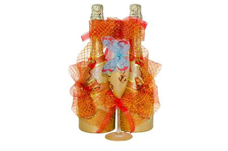 gold capped: Wedding champagne bottles with a glass Stock Photo