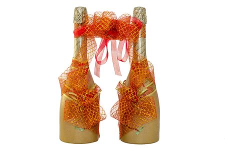 gold capped: Wedding champagne bottles