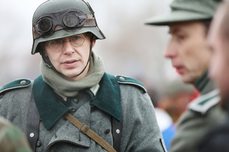 Belarus, Gomel, November 21, 2016, Reconstruction of the battle of the Second World War. German soldier of the Second World War. German soldier