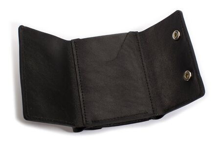 Open black leather wallet on a white background