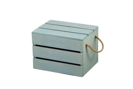 Wooden box with a lid on a white background. Turquoise storage box 스톡 콘텐츠