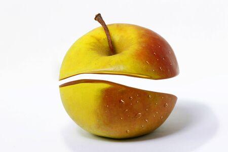 Apple creative cut on a white background. Apple of discord Foto de archivo