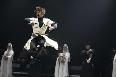Belarus, Gomel, February 27, 2018. Concert hall. Speech of the national Georgian ballet Sukhishvili.The jump of the Georgian dancer