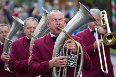 Belarus, Gomel, September 16, 2017. Celebrating the city day.The musician plays the tuba. Brass band. Musicians trumpeters perform music Editöryel