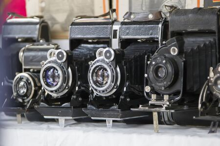 Moscow, June 08, 2018. Central market.Vintage cameras. Ancient photographic equipment Archivio Fotografico