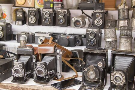 Moscow, June 08, 2018. Central market.Vintage cameras. Ancient photographic equipment
