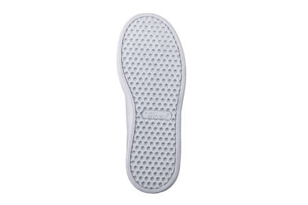 White sole of shoes. Bottom of sneakers on a white background is insulated.