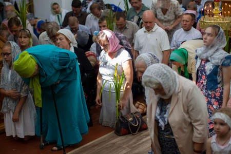 Belarus, the city of Gomil, April 1, 2018. City church. Palm Sunday.Many people in the temple celebrate Palm Sunday. Orthodox believers. A crowd of residents in the church.