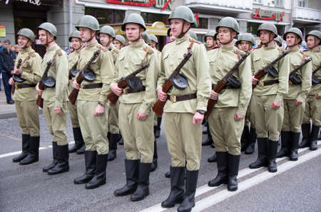 Belarus, the city of Gomel, May 9, 2019. Holiday Victory Day.Build soldiers in the form of World War II. Editorial