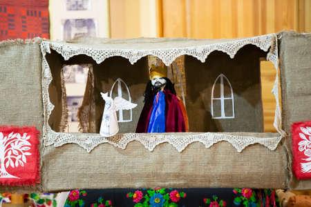 Belarus, the city of Gomil, December 24, 2016. Christmas time.Slavic puppet show Batleyka. Belarusian ethnic theater. Redakční