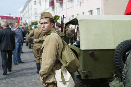 Belarus, the city of Gomil, May 09, 2015. Reconstruction of the Second World War. A man in the form of a Russian soldier.