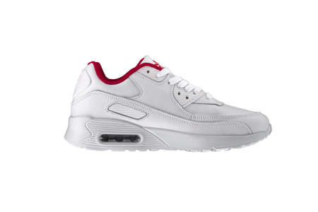 Sport shoes. White sneaker with a red insert on a white background.