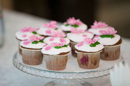Cake for a buffet table. A group of small cupcakes decorated with pink cream flowers.