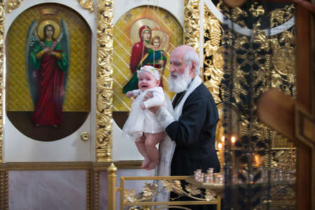 Belarus, Gomel, March 25. 2018. The Prudhkovsky Church.The rite of baptism. Adoption of the Orthodox Faith Editorial