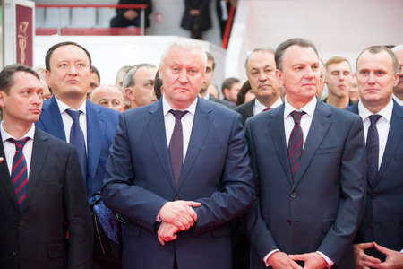 Belarus is the city of Gomel on October 25, 2018. Exhibition of products of national economy.Older men in suits. Politicians.Chiefs