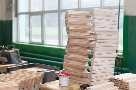 Furniture factory. Shop for the production of furniture from wood.Billets for furniture Stok Fotoğraf