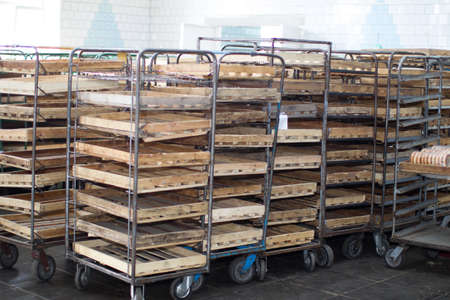 Empty racks for bread